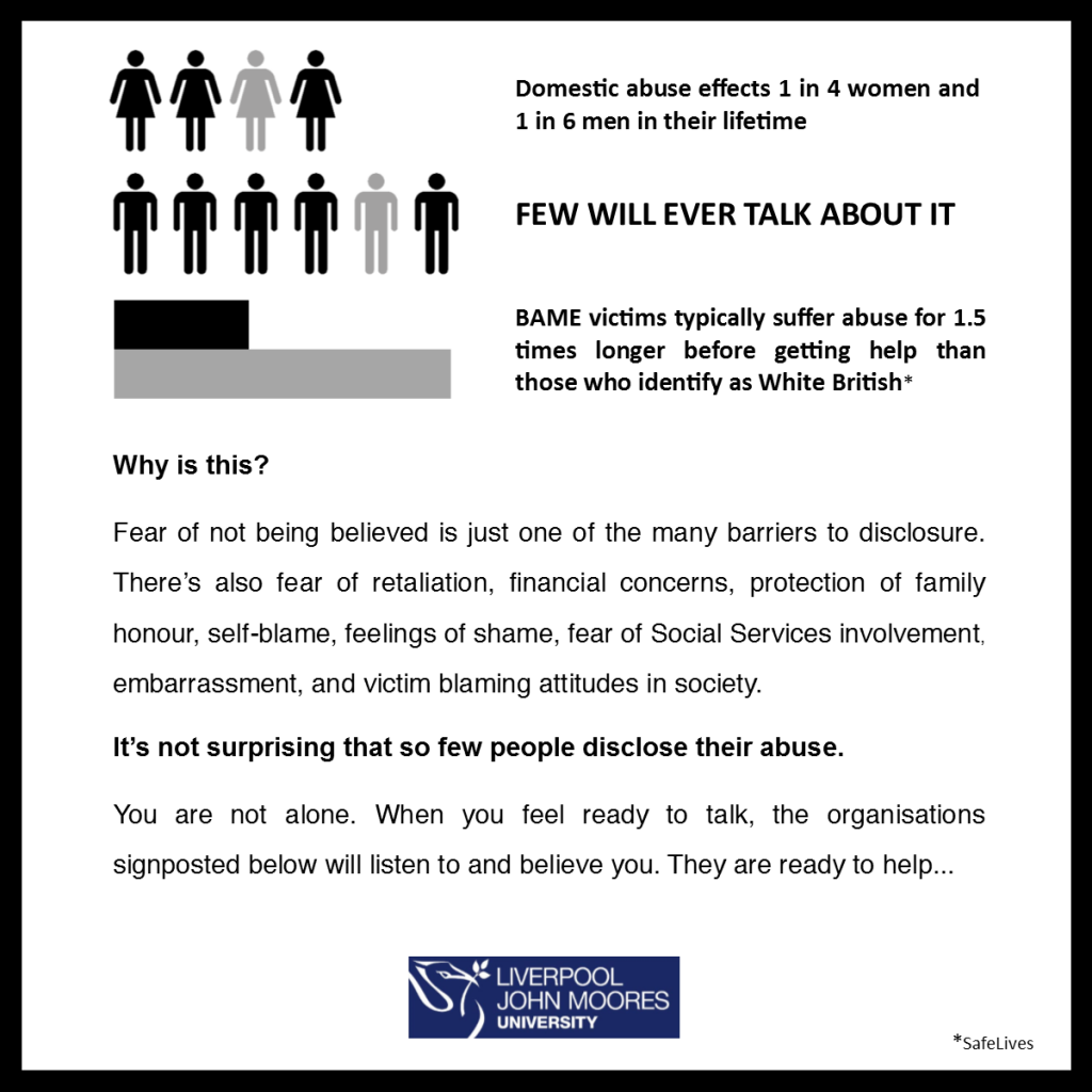 We believe you - Domestic abuse BAME victims fear of not being believed and barriers to disclosure
