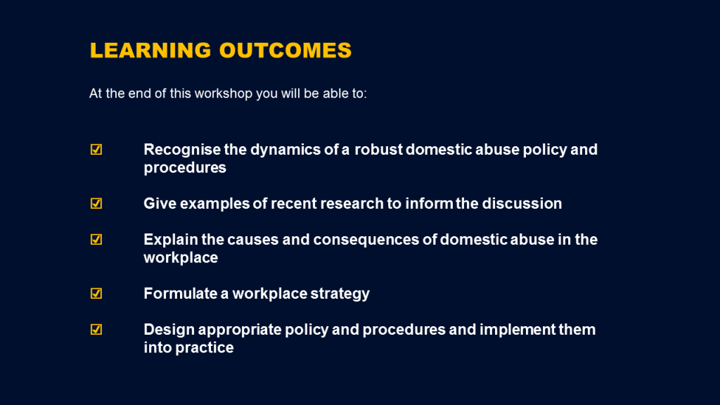 Domestic abuse training - learning outcomes